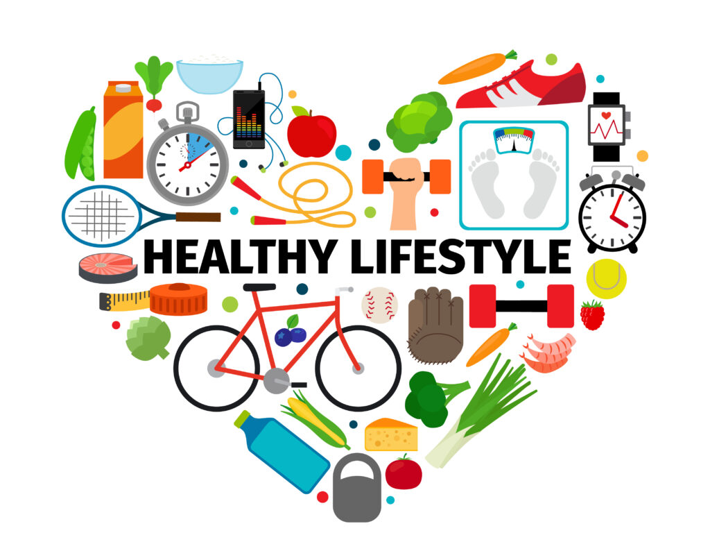 Healthy lifestyle heart emblem. Health, healthy food and active daily routine flat icons vector banner isolated on white background